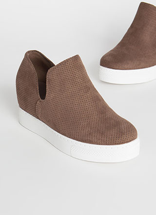 Upgrade Me Perforated Wedge Sneakers