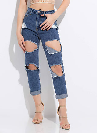 Sorry Mom Cut-Out Girlfriend Jeans