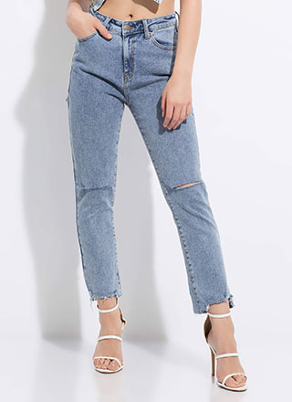 Slit Up Straight Distressed Jeans