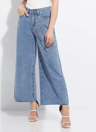 Eyes Wide Open Chained Wide-Leg Jeans