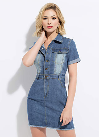 Doing Denim Right Button-Up Minidress