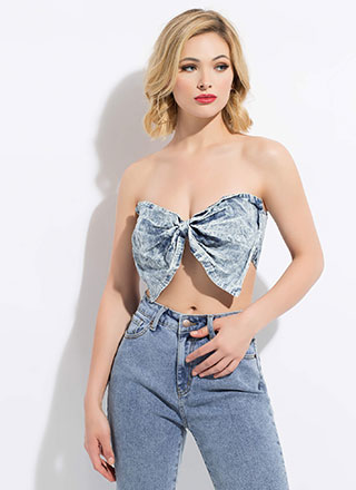 I Like Big Bows Acid Wash Bandeau
