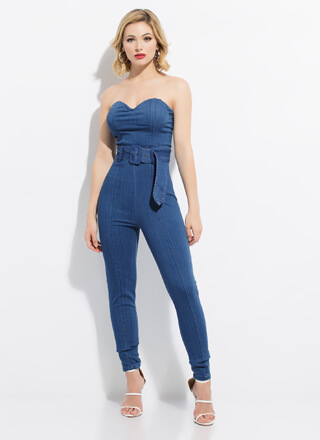 Strapless Sweetheart Denim Jumpsuit