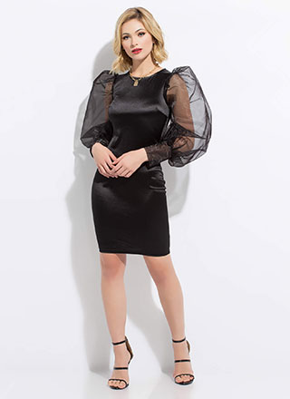 Statement Puffy Balloon Sleeve Dress