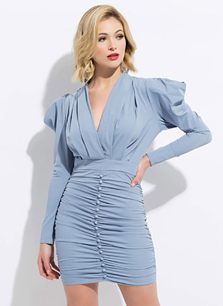 Strong Shoulders Puffy Ruched Minidress