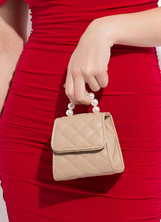 Pearls And Purses Quilted Mini Clutch