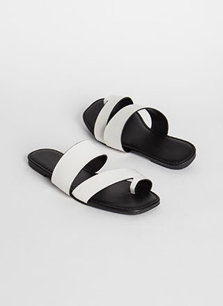 Two Toes Up Faux Crocodile Slide Sandals