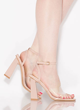 Next-Bevel Ankle Strap Illusion Heels