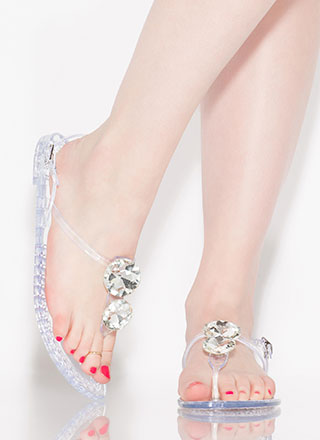 Crown Jewels Jelly Thong Sandals