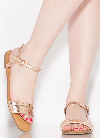 My Stud Metallic Ankle Strap Sandals