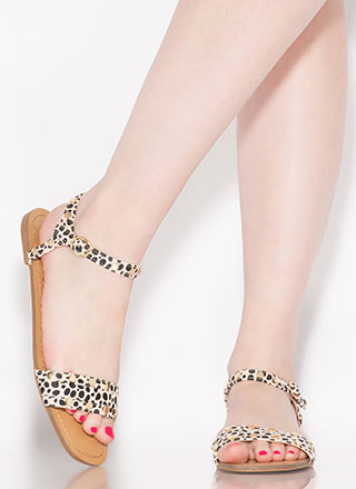My Stud Cheetah Ankle Strap Sandals