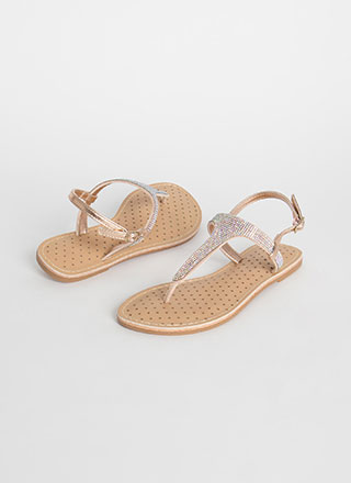 Sparkly Pedi Jeweled T-Strap Sandals