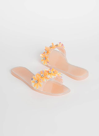 Flower Arrangement Jelly Slide Sandals
