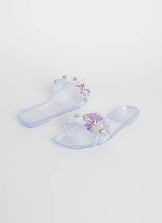 Flower Arrangement Clear Slide Sandals