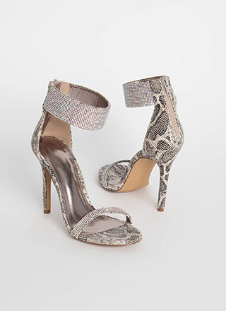 Snake Enthusiast Jeweled Cuff Heels