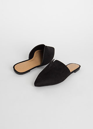 Notch Above Pointy Faux Suede Mule Flats