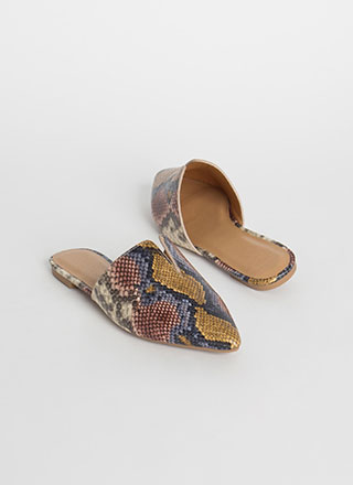 Notch Above Pointy Faux Snake Mule Flats