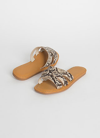 Beach Day Snake Print Slide Sandals