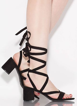 Living For Lace-Up Block Heels