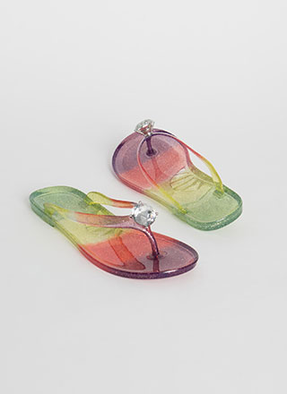 Precious Jewel Ombre Jelly Thong Sandals