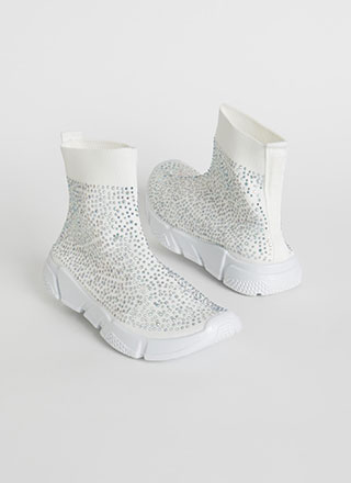 Runaway Winner Knit Jeweled Sneakers