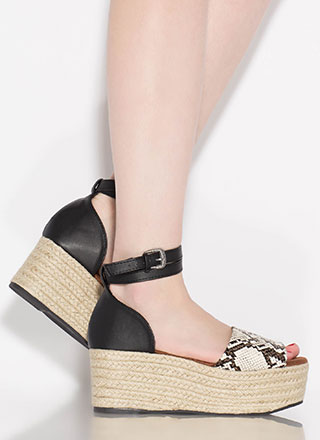 Goodness Snake Braided Platform Wedges