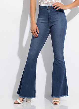 Cut You Off Fringed Bell-Bottom Jeans