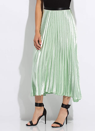 Flow Smoothly Pleated Satin Maxi Skirt