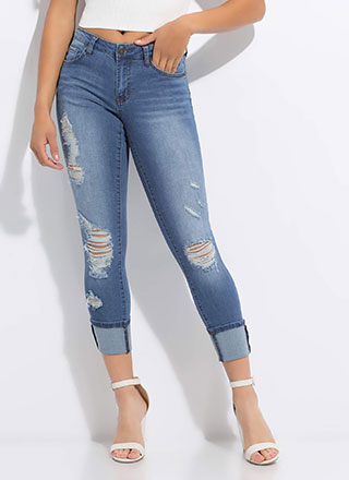 Perf Distressed Mid-Rise Skinny Jeans