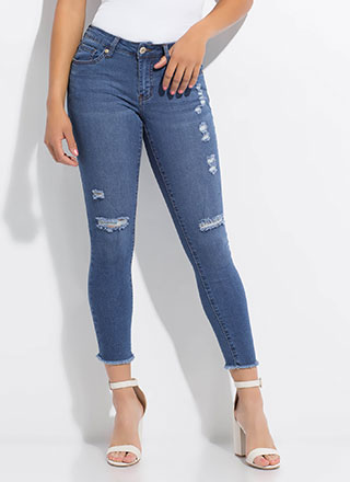 Perf Distressed Cut-off Skinny Jeans