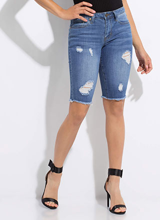 Distressed In Bermuda Denim Shorts