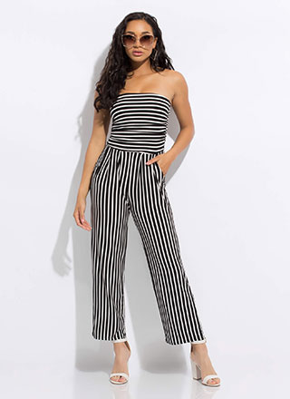 Strapless Days Striped Wide-Leg Jumpsuit