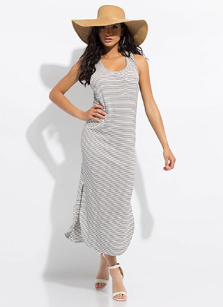 Weekender Pinstriped Maxi Tank Dress