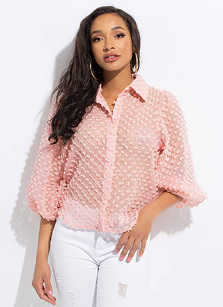 Pom-Pom Party Puff Sleeve Blouse