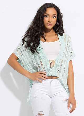 Boho Babe Tasseled Crochet Knit Cardigan