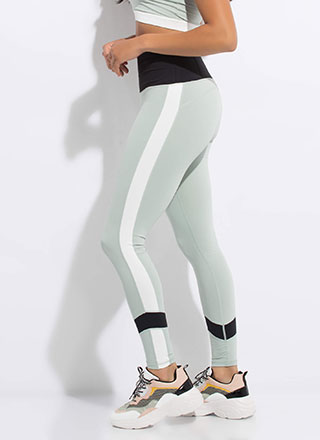 Gym Brat Striped Pocketed Leggings