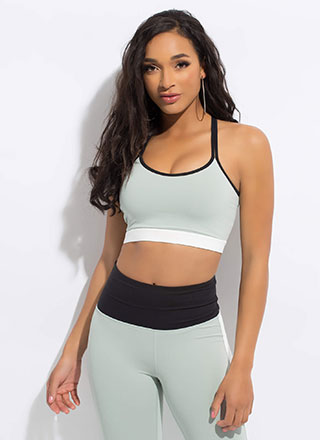 Gym Brat Strappy Tri-Color Sports Bra