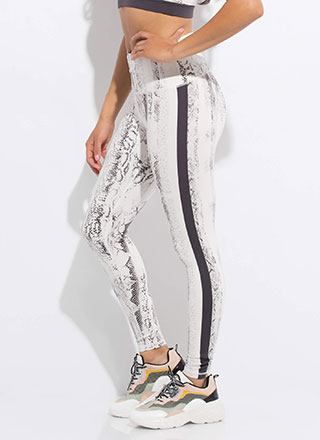 Come-Slither Look Snake Print Leggings
