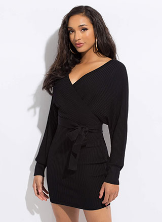 I'm Flattered Tied Dolman Sweater Dress