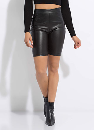 Bad Girls Club Faux Leather Biker Shorts