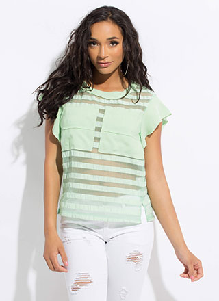 Something Different Sheer Striped Top