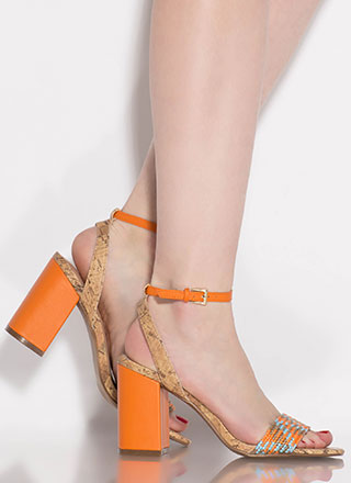 Cork Islands Chunky Woven Strap Heels