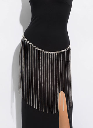 Fringe Skirt Jeweled Body Chain Belt