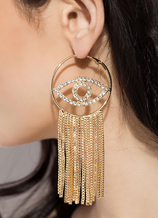 Eye See U Jeweled Chain Fringe Earrings