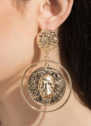 Hear Me Roar Oversized Lion Earrings