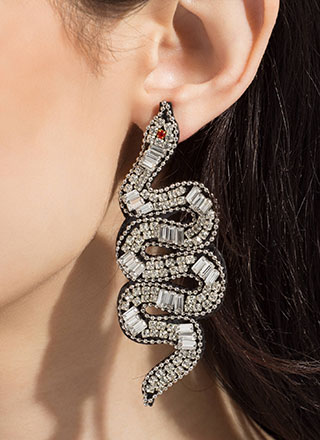 Snake Lover Oversized Jeweled Earrings