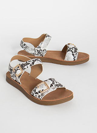 Wild Things Buckled Snake Print Sandals