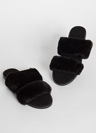 Soft On You Furry Studded Slide Sandals