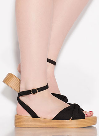 Cabana Cutie Knotted Faux Suede Sandals
