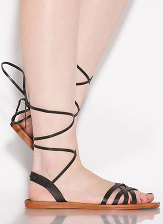 Strappy Times Ahead Lace-Up Sandals